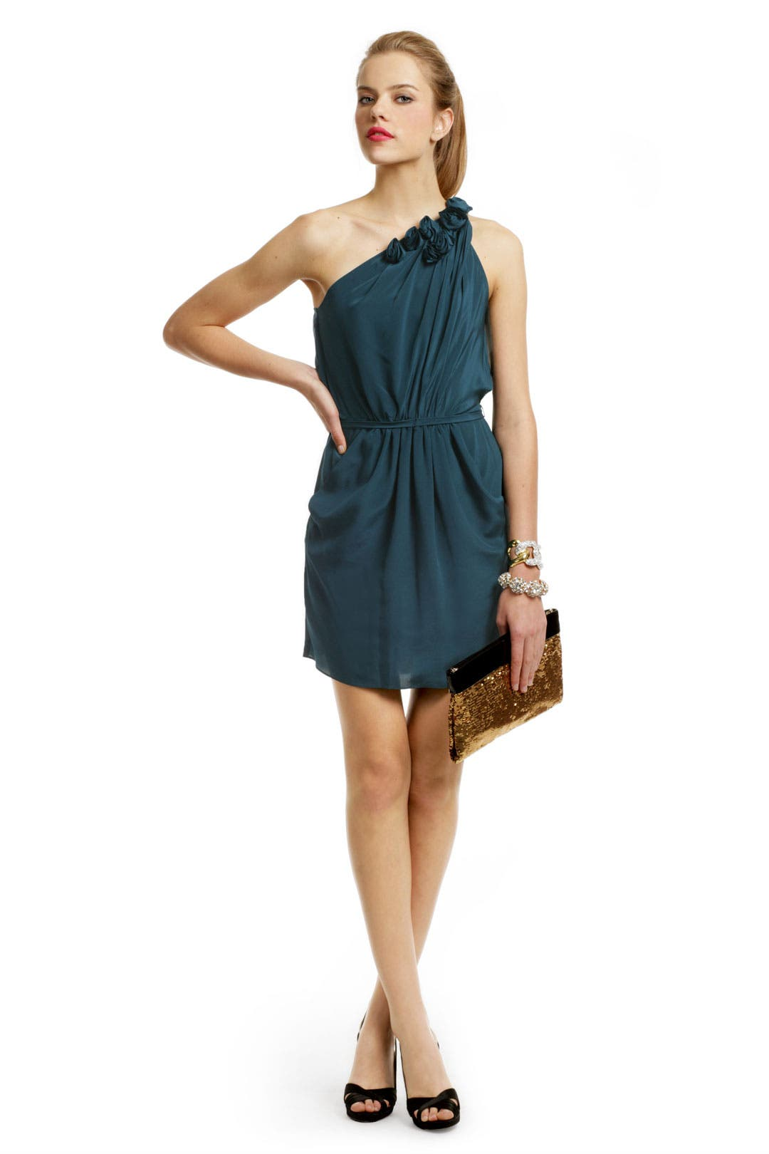 Teal Rosette Tie Dress by Rebecca Taylor