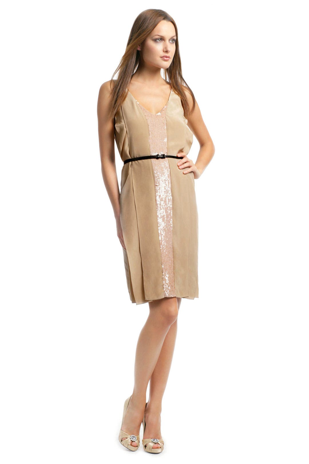 Caramel V Neck Sequin Dress by Sachin + Babi
