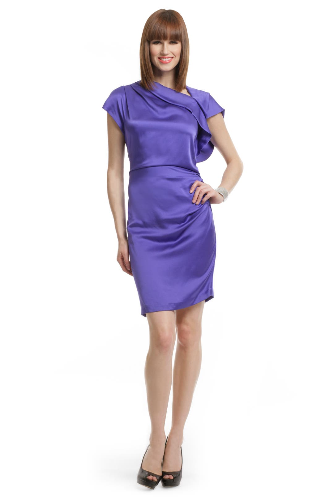 Violet Silk Draped Dress by Thakoon