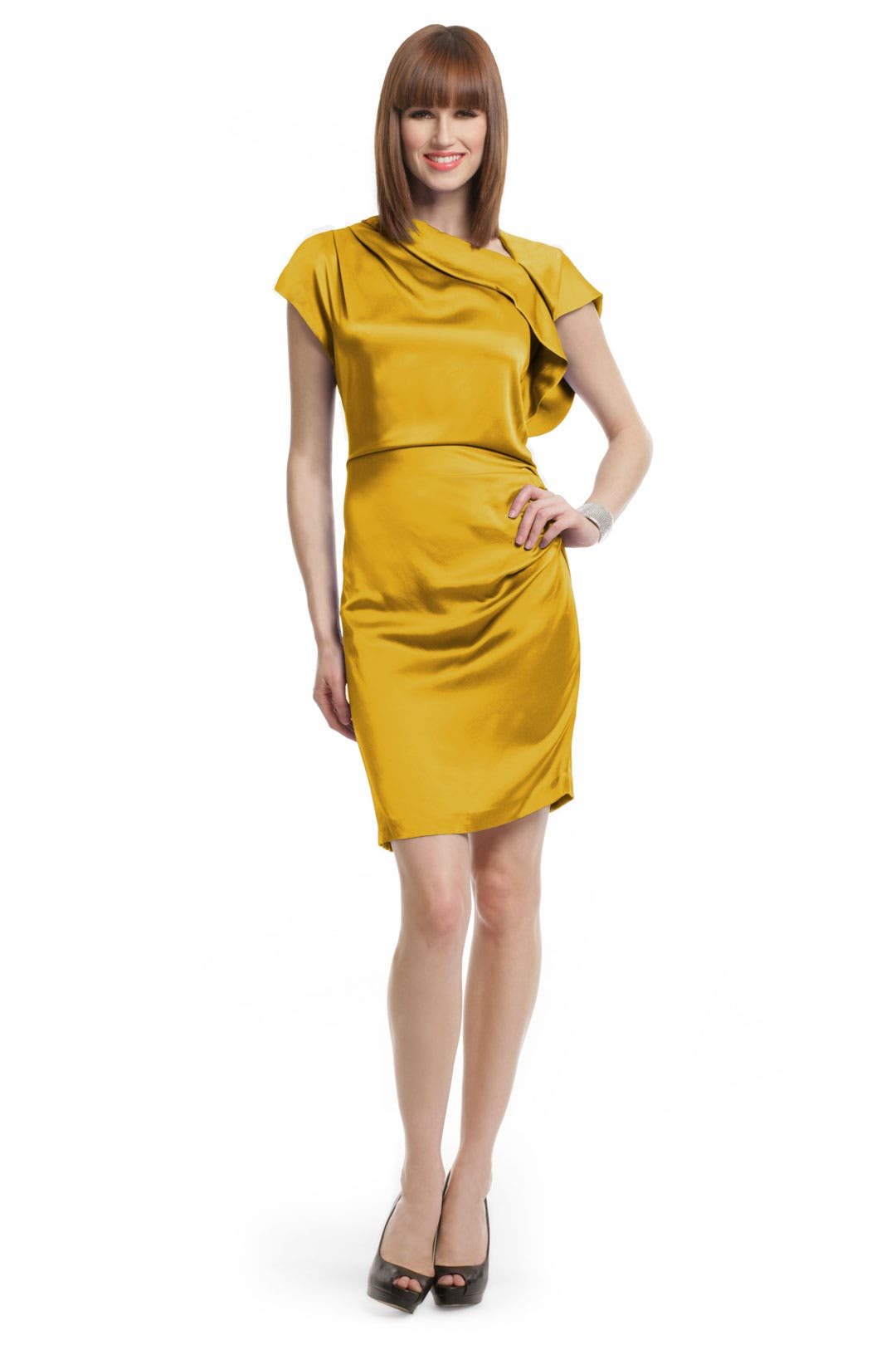 Yellow Silk Draped Dress by Thakoon