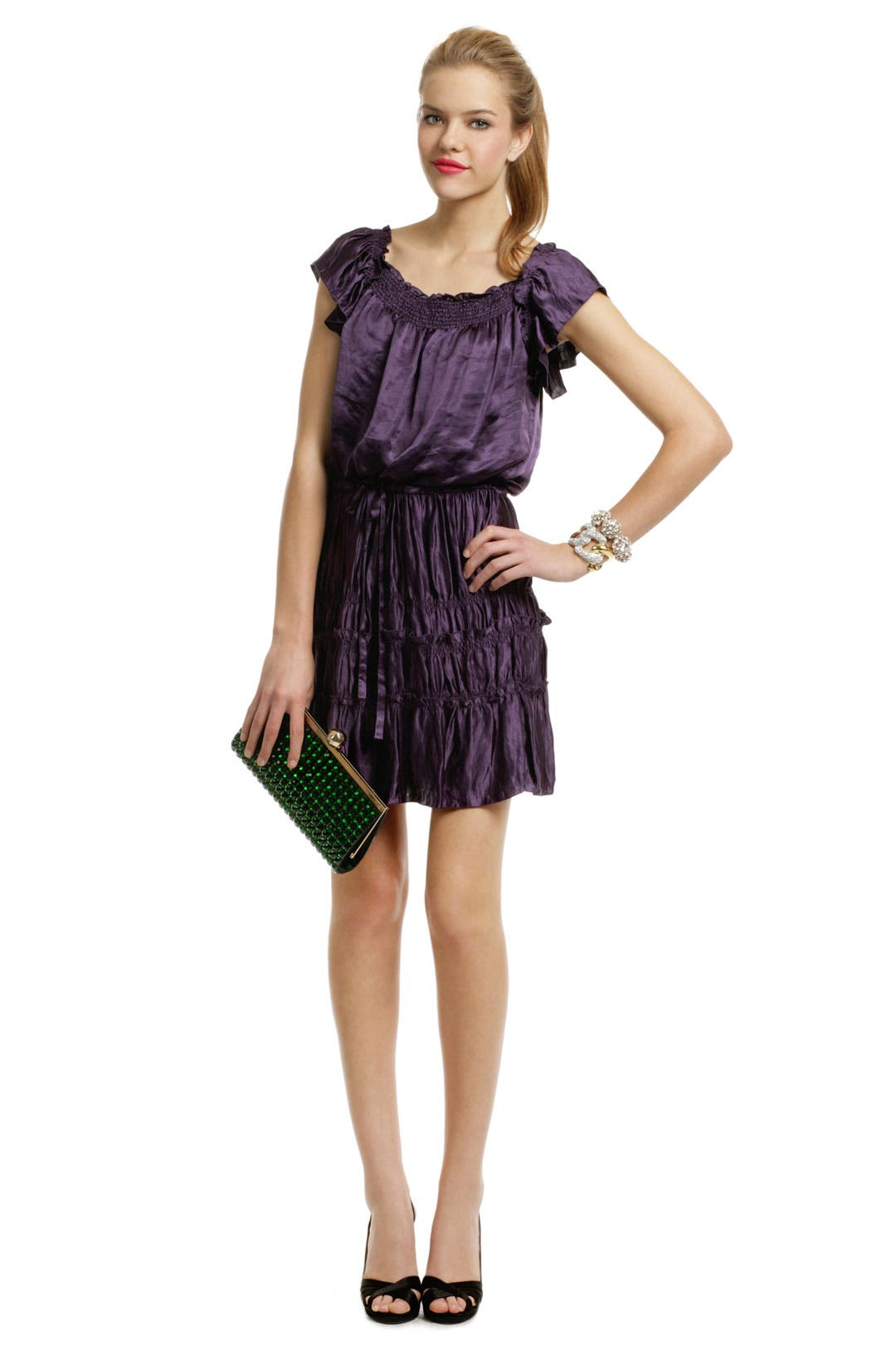 Purple Pleat Plaza Dress by theory