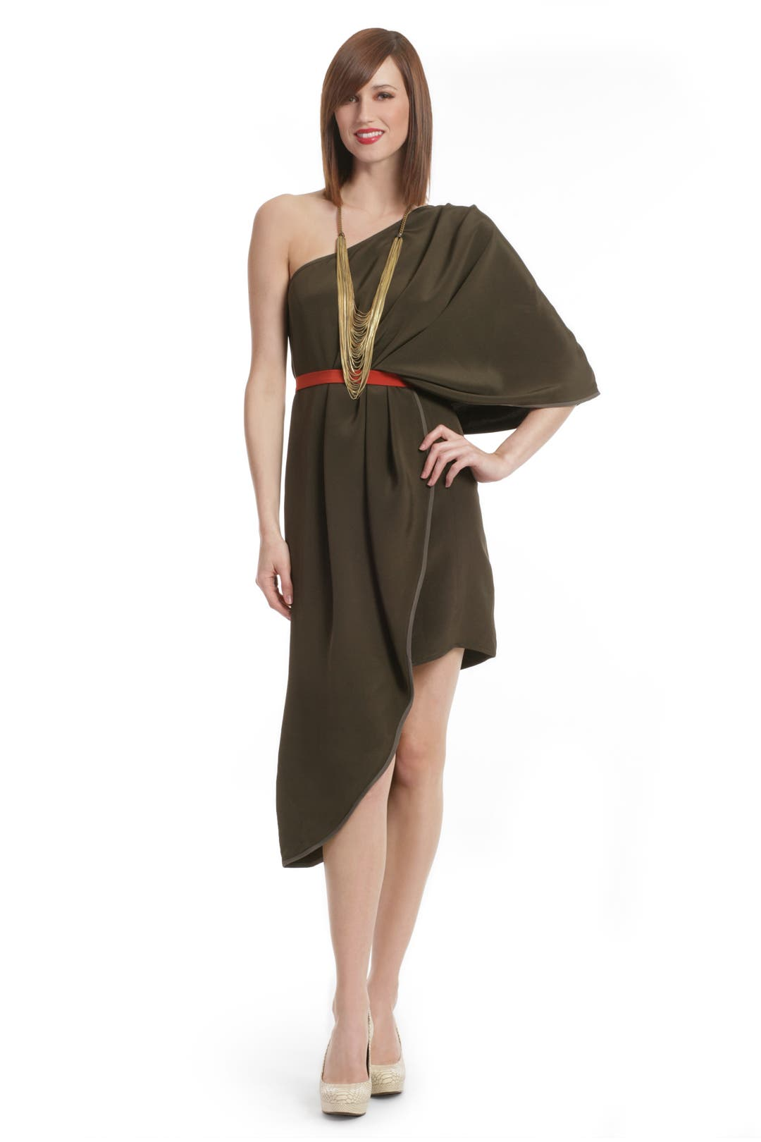 Olive One shoulder Color block Dress by Thread Social