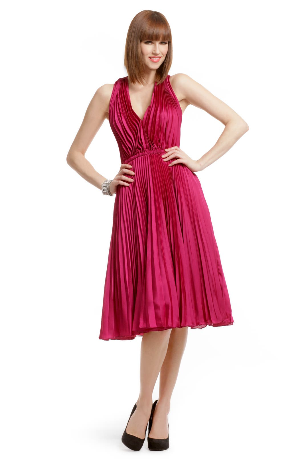 Raspberry Charm Pleated Dress by Tracy Reese