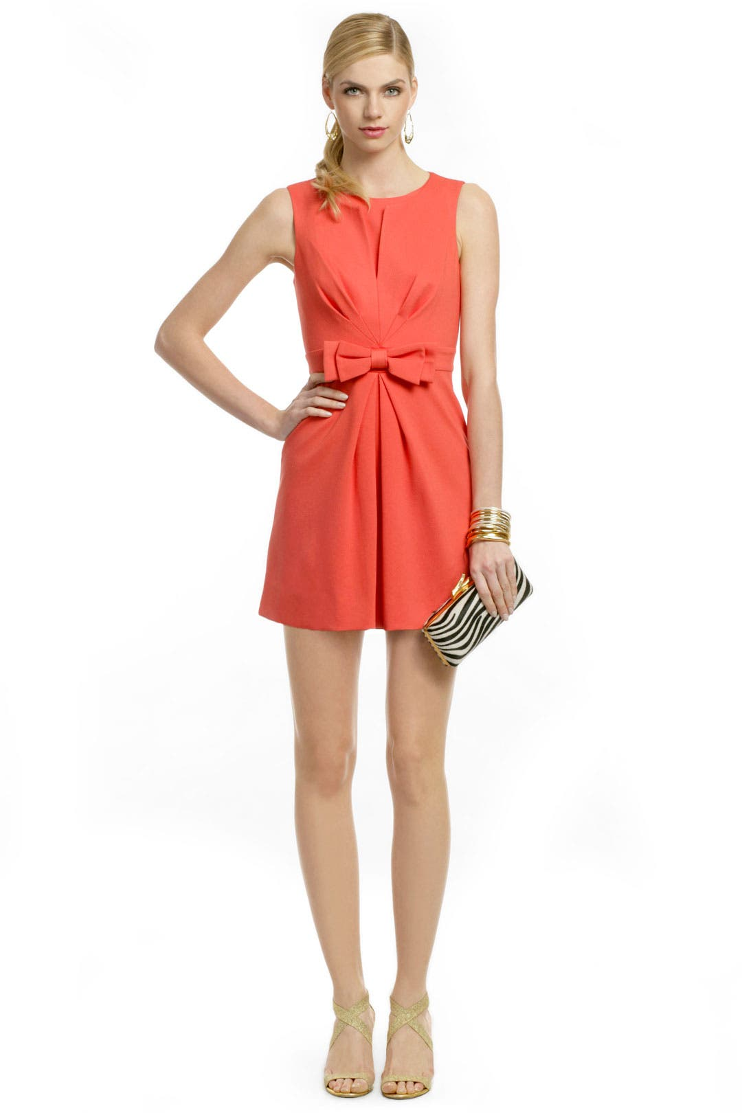 Coral Bow Front Sheath by Trina Turk