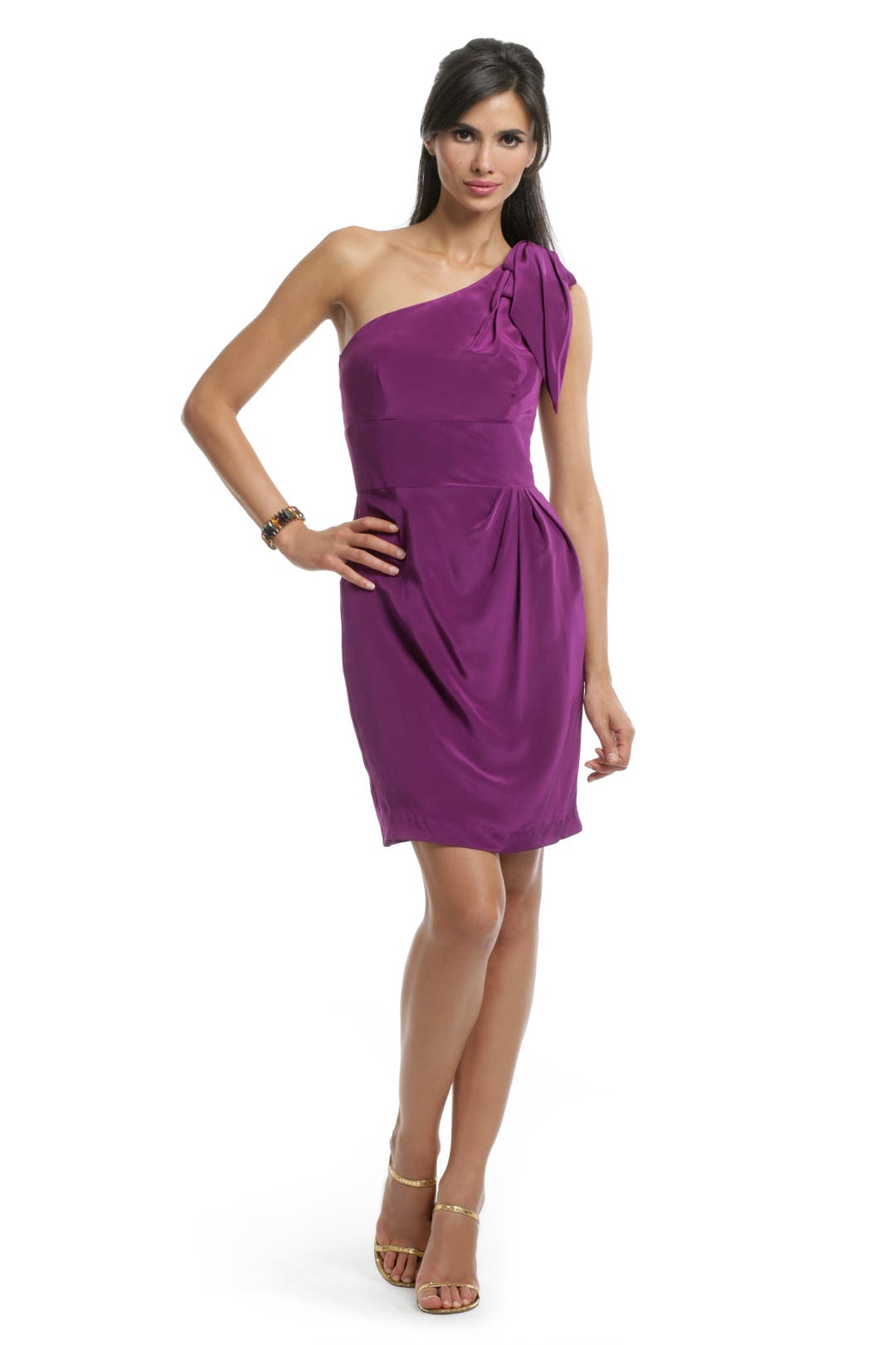 Purple Bow Shoulder dress by Trina Turk