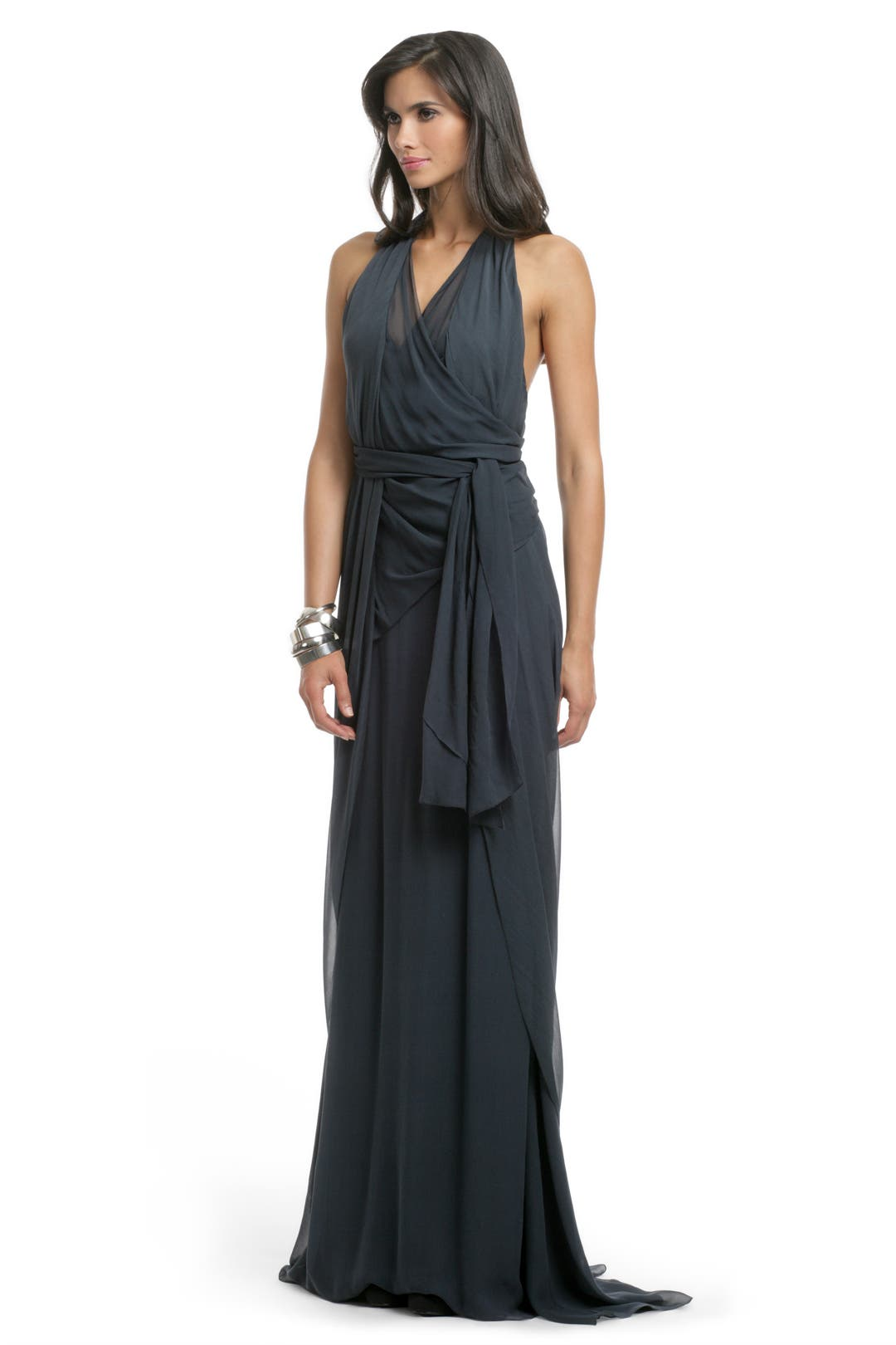 Prussian Chiffon Draped Gown by Vera Wang