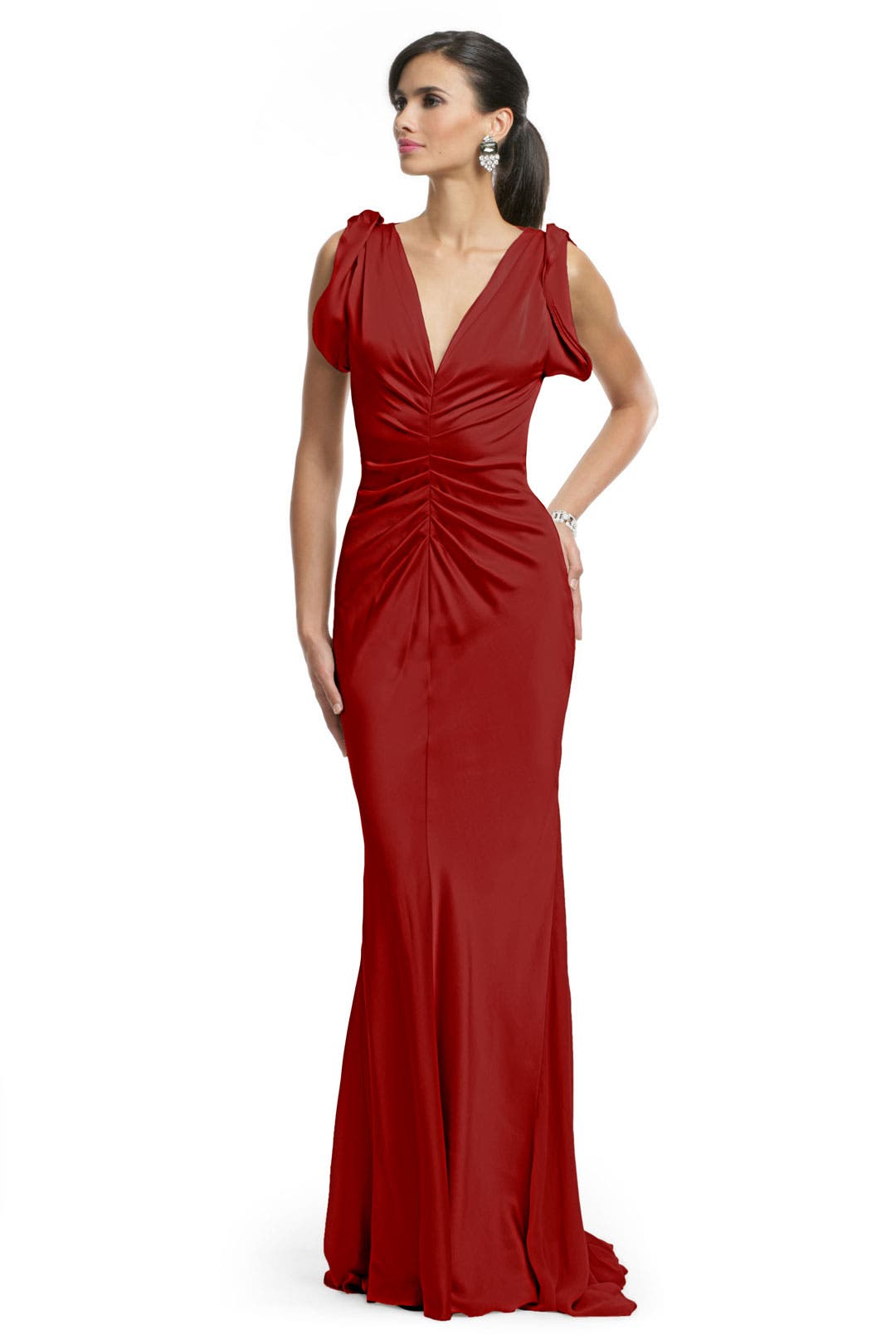Red Ruched Glamour Gown by Vera Wang