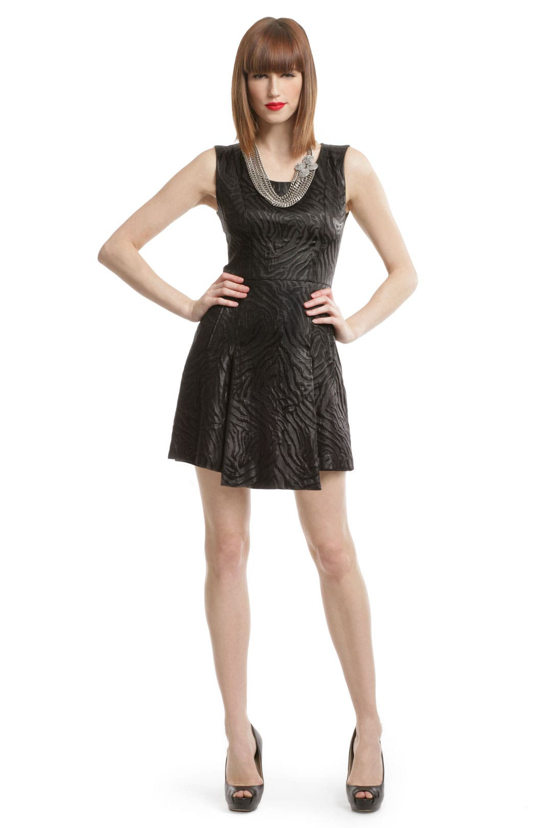 Shiny Scoop Flare Dress by Versus by Versace