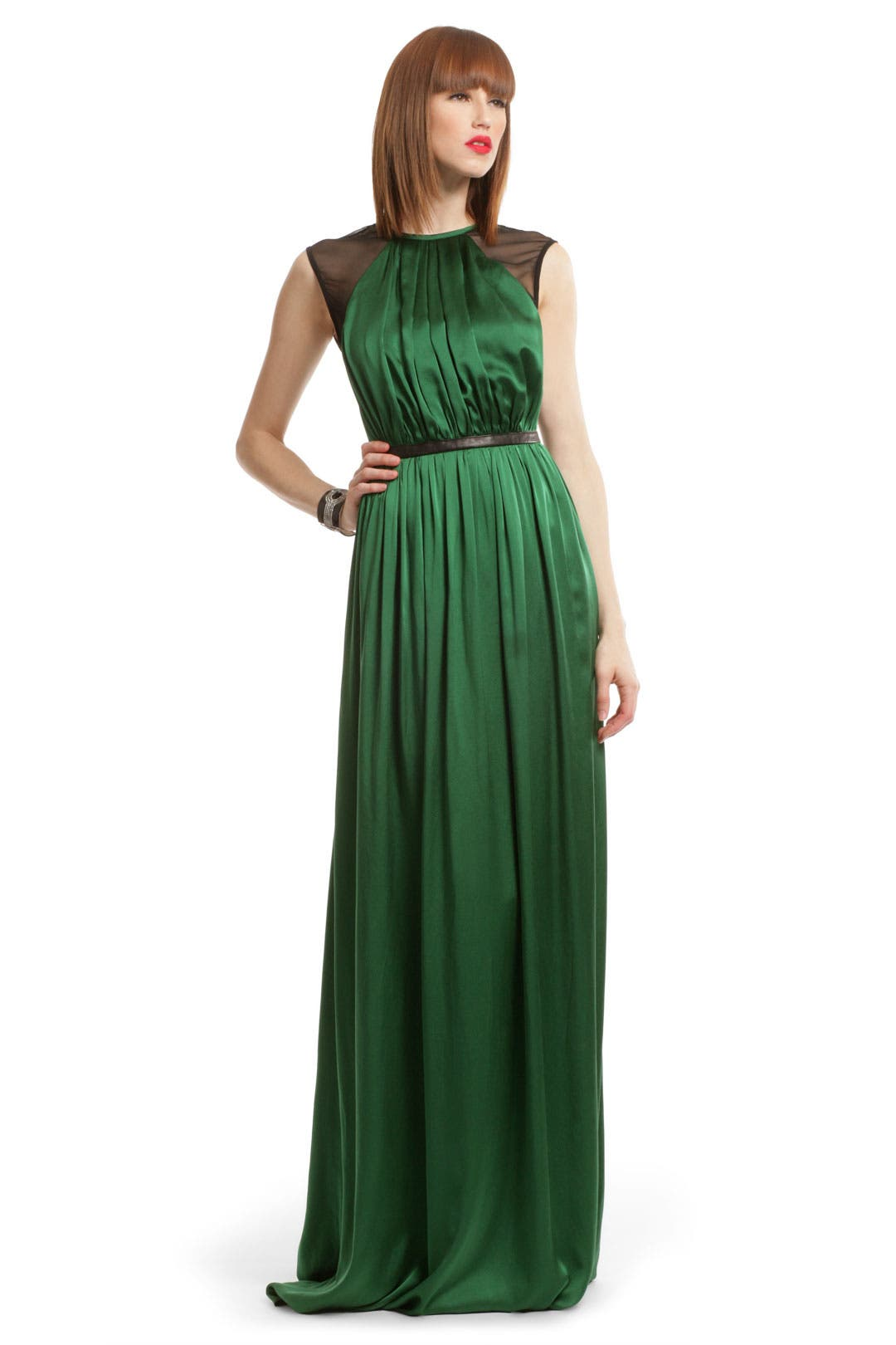 Green Satin Charm Gown by Yigal Azrouël