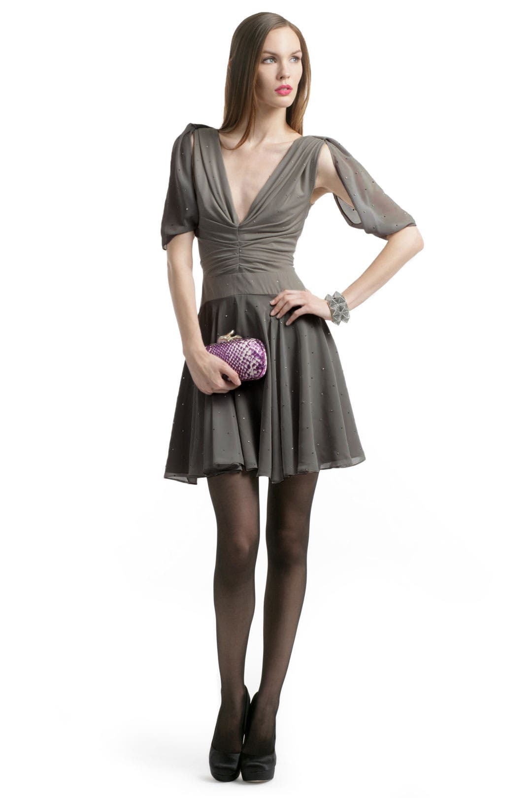 Studded Jersey V Neck Dress by Z Spoke Zac Posen